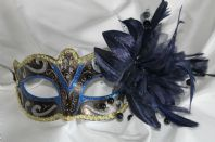 Blue Mask with Black Pearls and Flower